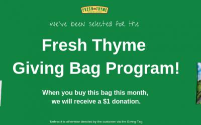 CERV Selected for Fresh Thyme Giving Bag Program